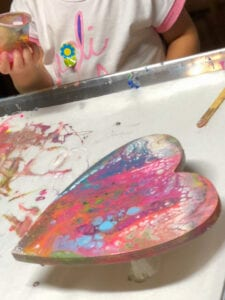 pour painting with kids heart